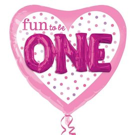 """Foil Balloon - Fun to be One Pink - 36"""""""
