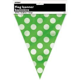 Flag Banner-Lime Green Dots-12Ft-Plastic