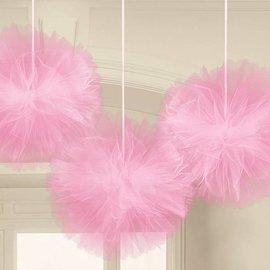Tulle Fluffy Decorations-Light Pink-12''-3pk