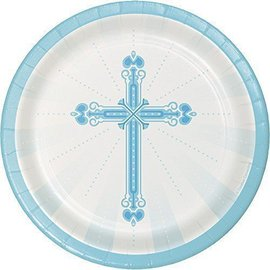Beverage Paper Plates- Blessings-Blue- 18pk/7""
