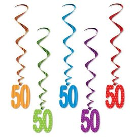 Birthday Whirls- Hanging Decorations (50 th)
