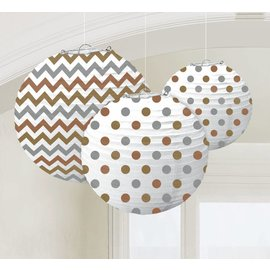 Paper Lanterns-Chevron and Polka Dot Gold, Silver, Bronze