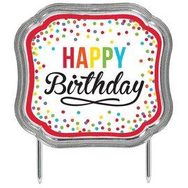 Cake Topper-Happy Birthday Rainbow Dots-4.5''x5.1''