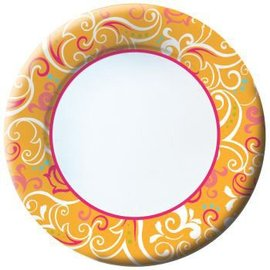 Plates-DN-Spring Scrolls-8pkg-Paper (Discontinued)