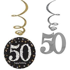 Swirl decorations-Sparkling 50th Birthday-12pk