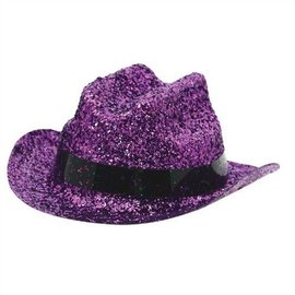 Mini Cowboy Hat-Purple Glitter-1pkg