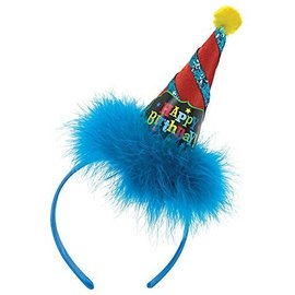 Headband-Cone Hat-HBD-Blue Fringe-6''-Fabric