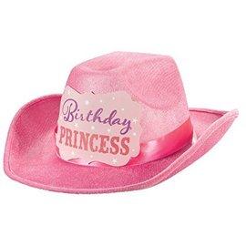 Hat-Cowboy Bday Princess-Pink-8''-Fabric (1pk)