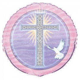 """Foil Balloon - Pink Special Blessings Cross - 18"""""""