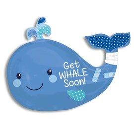 "Foil Balloon - Jumbo - Get Whale Soon - 24""x34"""