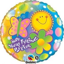 """Foil Balloon - Hope You're Feeling Better Sun - 18"""""""