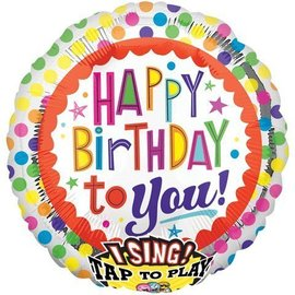 Foil Balloon - Singing - Happy Birthday to You Dots - 28""