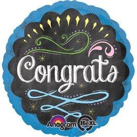 "Foil Balloon - Congrats Chalkboard - 18"""
