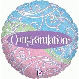 "Foil Balloon - Congratulations Pastel Filigree - 18"""