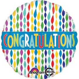 Foil Balloon - Congratulations Colorful Streamers - 18""