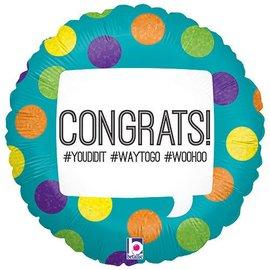 """Foil Balloon - Congrats Hashtag - 18"""""""
