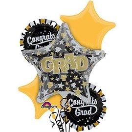 Foil Balloon Bouquet - Congrats Grad Glitter -5 Balloons - 6ft