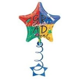 Foil Balloon & Coil Weight - Congrats Grad Stars - 1pc - 31""