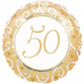 "Foil Balloon - Gold 50th Anniversary - 18"""