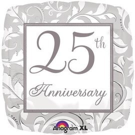 Foil Balloon - Silver Scroll 25th Anniversary - 18""