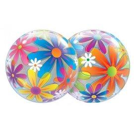 "Plastic Bubble Balloon-Fanciful Flowers-1pkg-22"""