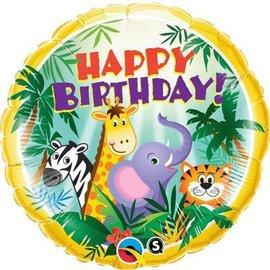 "Foil Balloon - Happy Birthday Jungle Friends - 18"""
