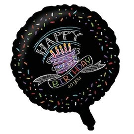 "Foil Balloon - Chalk Happy Birthday - 18"""
