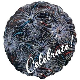 "Foil Balloon - Celebrate Fireworks - 18"""