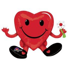 "Foil Balloon - Sitting Smiling Heart - 20""x13"""