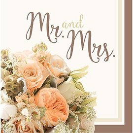 Napkins-LN-Rose Gold Bouquet-Mr & Mrs-16pk-2ply (Discontinued)