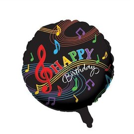 """Foil Balloon - Dancing Musical Notes Happy Birthday - 18"""""""