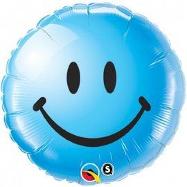 Foil Balloon - Blue Smiley Face - 18""