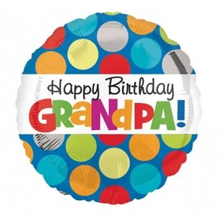 Foil Balloon - Happy Birthday Grandpa Polka Dots - 18""