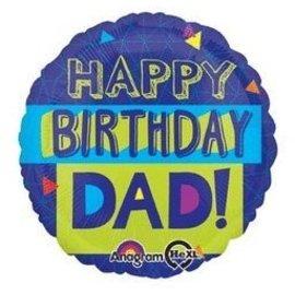 "Foil Balloon - Happy Birthday Dad - 18"""
