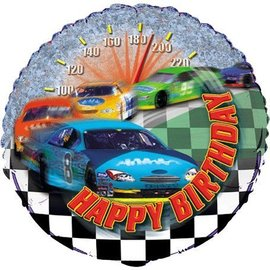 Foil Balloon - Racing Car Happy Birthday - 18""