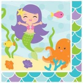 Napkins BEV-Mermaid Friends (18pk-2ply) - Discontinued