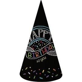 Hats-Cone-Chalk Birthday-8pk-Paper