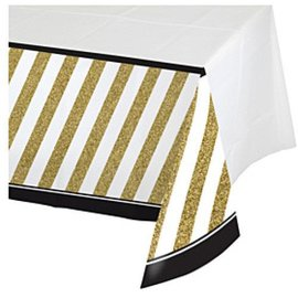 Table Cover-Black&Gold-Plastic-54''x102''