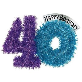 Tinsel Decor-Party Continues 40 Bday-Foil-14''x10''