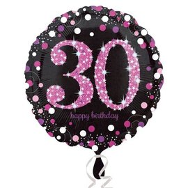 Foil Balloon - Pink 30th Birthday Sparkle - 18""