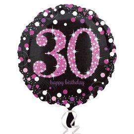 "Foil Balloon - Pink 30th Birthday Sparkle - 18"""