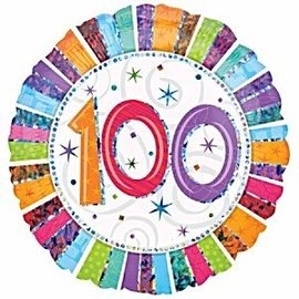 "Foil Balloon - 100 Radiant Birthday - 18"""