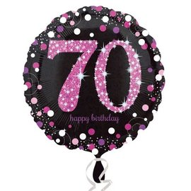 Foil Balloon - Pink 70th Sparkle - 18""
