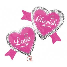 "Foil Balloon - Elegant Love & Cherish Hearts - 38.5""x27"""