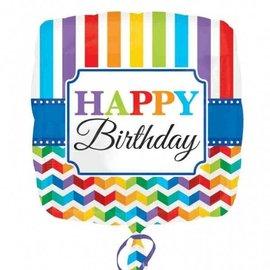 "Foil Balloon - Happy Birthday Rainbow Chevron - 18"""
