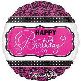 "Foil Balloon - Pink Happy Birthday Damask - 18"""