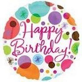 "Foil Balloon - Happy Birthday Dots - 18"""
