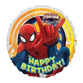 "Foil Balloon - Spiderman Happy Birthday - 18"""