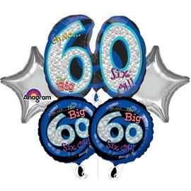 Foil Balloon Bouquet - Oh No the Big 60 - 5 Balloons - 2.2ft
