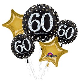 Foil Balloon Bouquet - 60th Birthday Sparkle - 5 Balloons - 2.3ft